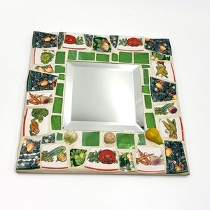 Vtg Devere Mosiac Tile Vegetable Fruit Mirrored